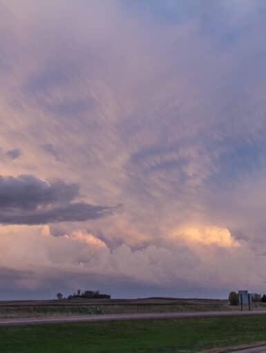 Mammatus at Sunset over I-35 in Iowa