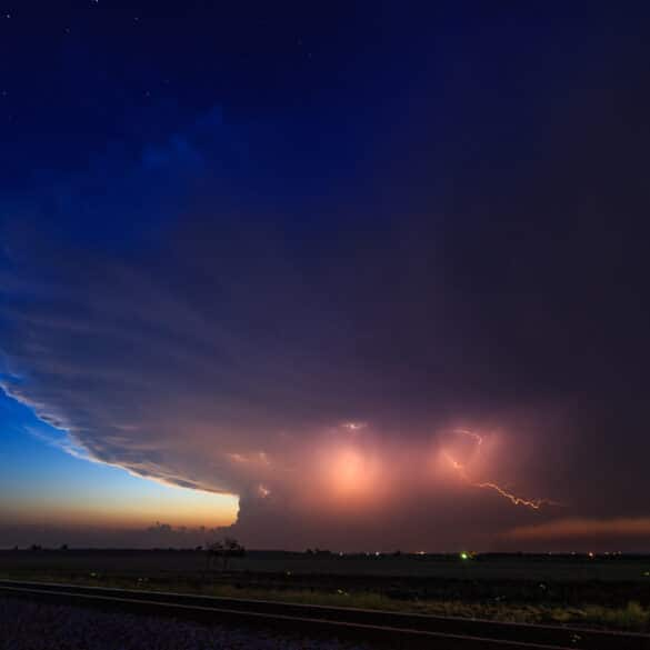 Northern Oklahoma Supercell at dusk near Enid