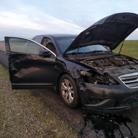 My car after hitting a deer in South Dakota