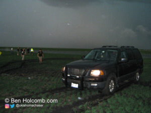 Stuck in a farmers field near Ipswitch South Dakota after fleeing tornadoes on a dirt road that ended abruptly into a field