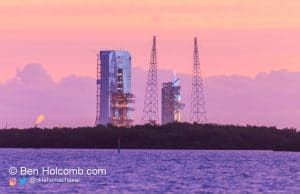 Sunrise over the Launchpad as the first launch window of EFT-1 opens