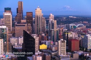 Mount Rainier photobomb Downtown Seattle from the space needle