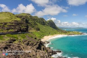 Very tropical scene from the Makapuu Lookout over Hawaii and the Pacific Ocean