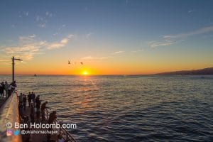 Sunset into the pacific ocean in santa monica