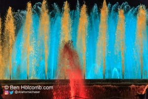Colorful fountains in Barcelona