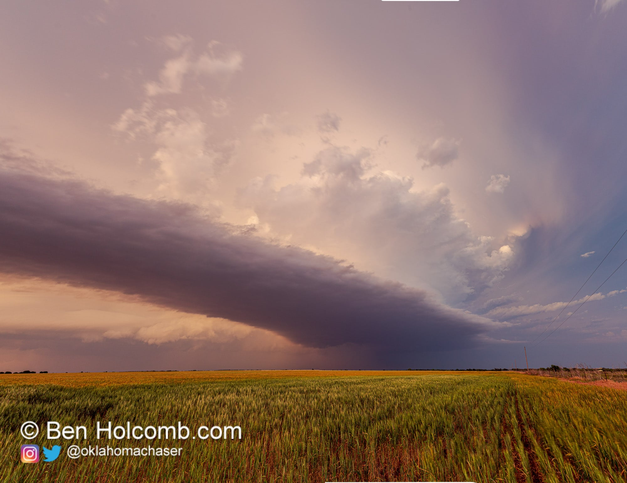 A lone supercell rolls across the Texas countryside near dusk