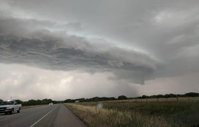 Shelf Cloud nearing Mason, Texas on May 27, 2020.