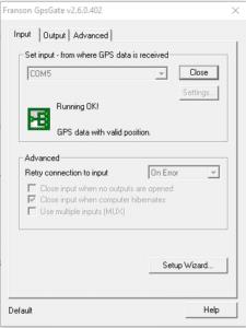 GPSGate Splitter/Client Input Screen