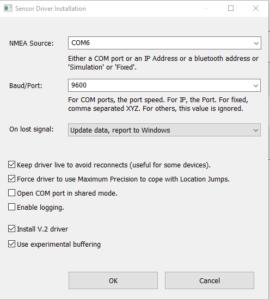 GPSDirect Options Menu