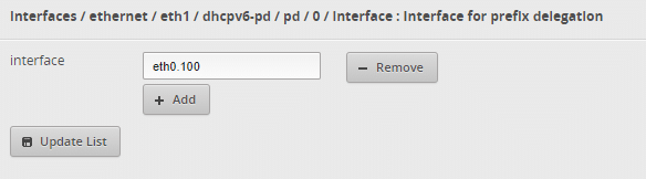 Add an interface for dhcpv6-pd prefix delegation.