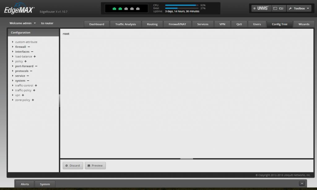 Ubiquiti EdgeMAX EdgeRouter X admin config tree tab