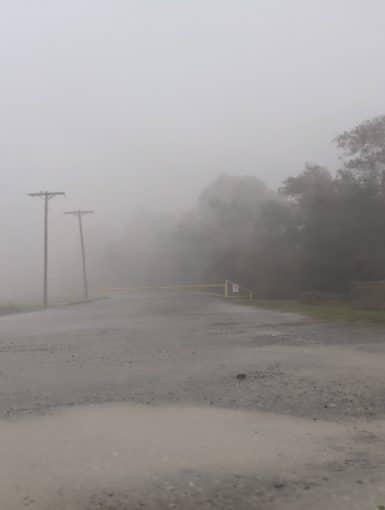 Hurricane Delta as it comes ashore from Jennings, Louisiana
