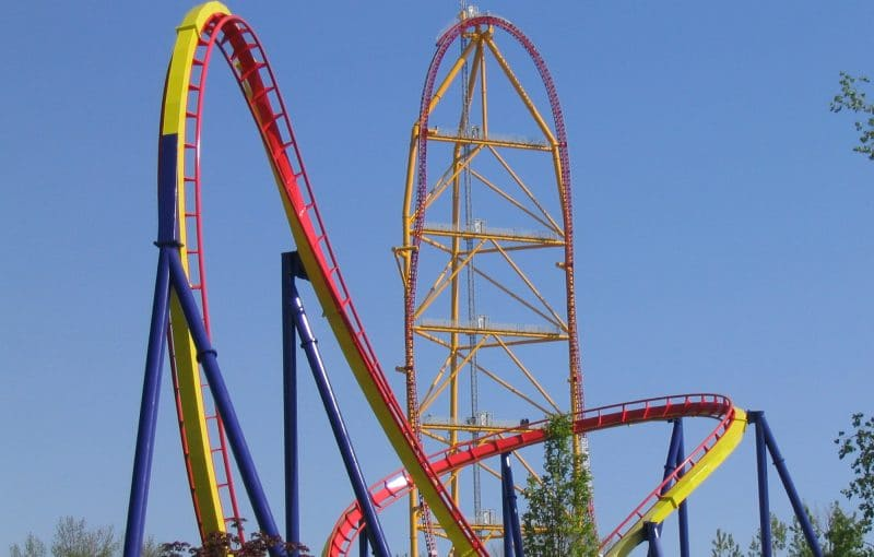 Mantis and Top Thrill Dragster at Cedar Point in Sandusky, Ohio