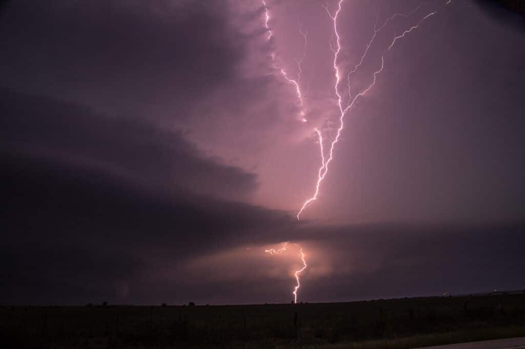 Brilliant upward strike of lightning