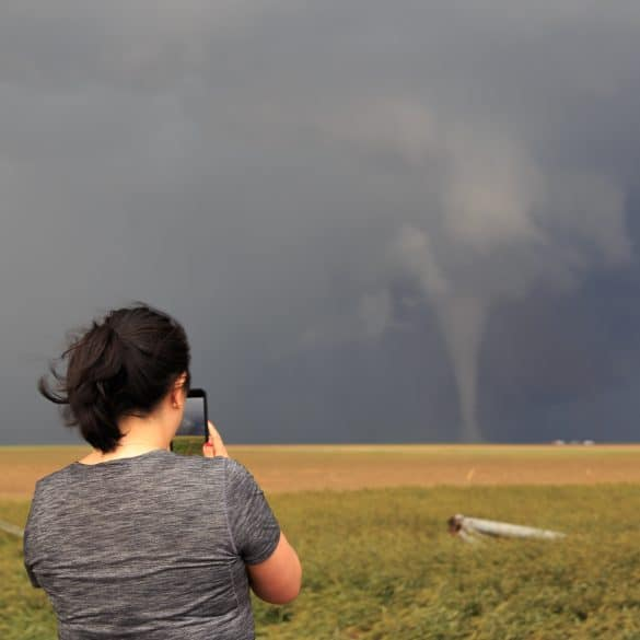 Chrystal taking a photo of one of the many Dodge City Kansas tornadoes on May 24, 2016