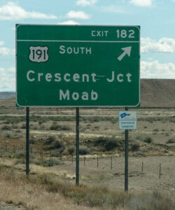 I-70 exit for Moab