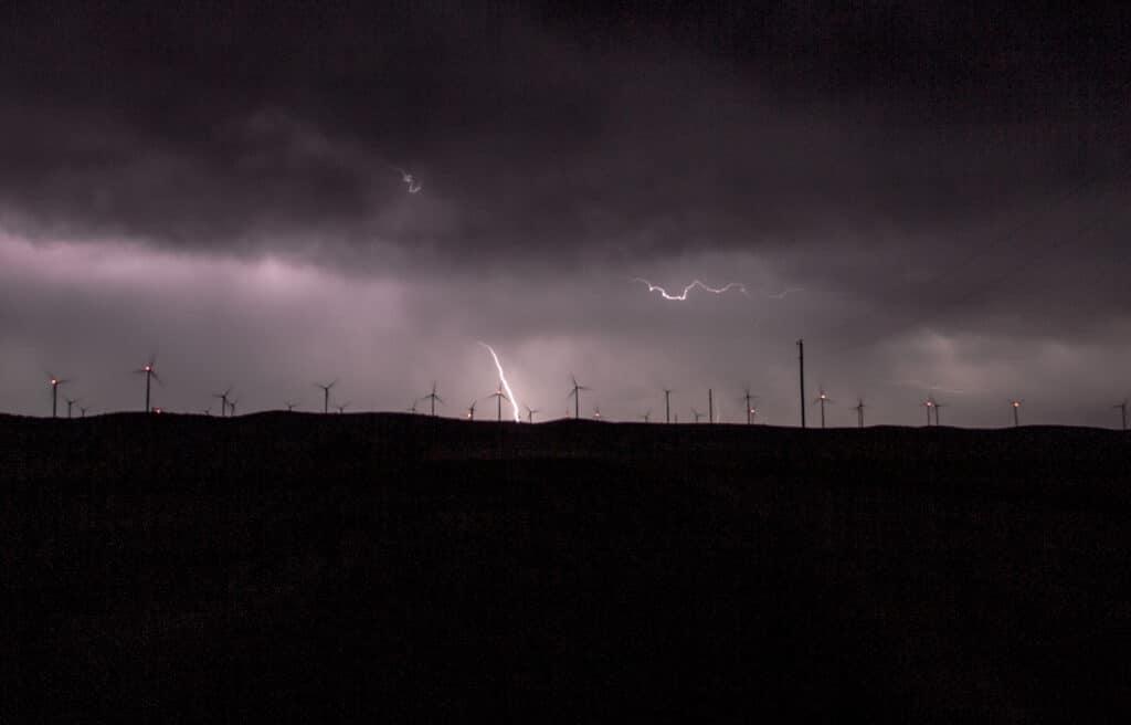 Lightning in Oklahoma on wind farm