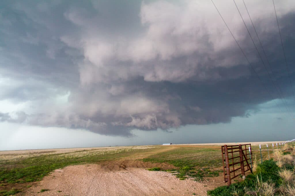 Storm in the Texas Panhandle over farm land