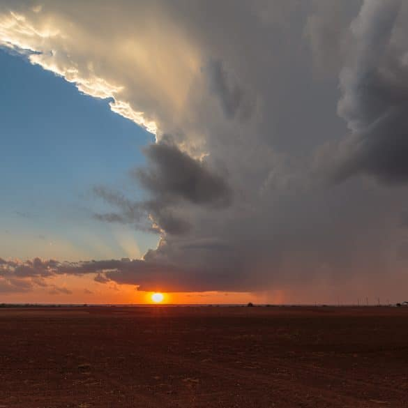 Sunset under a developing supercell