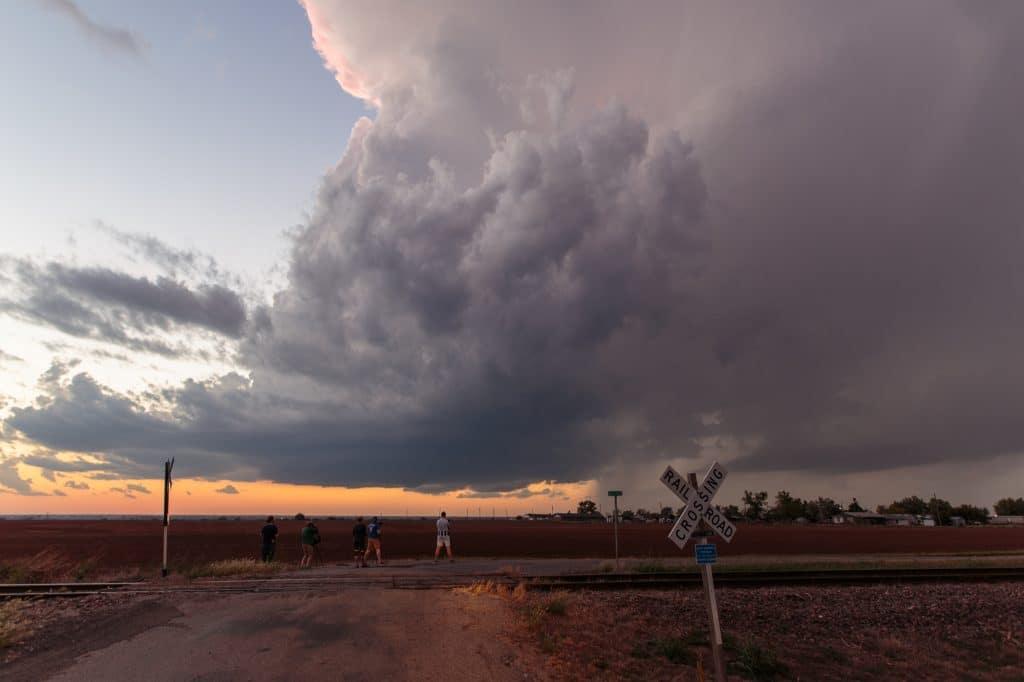 Oklahoma Thunderstorm over railroad crossing