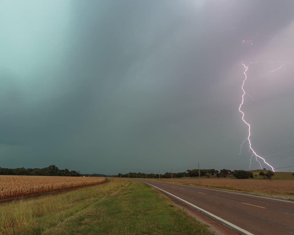 Lightning bolt in Kansas in August 2017