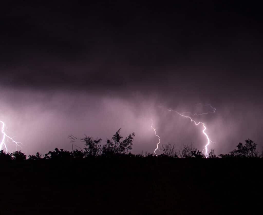Lightning at night in Texas