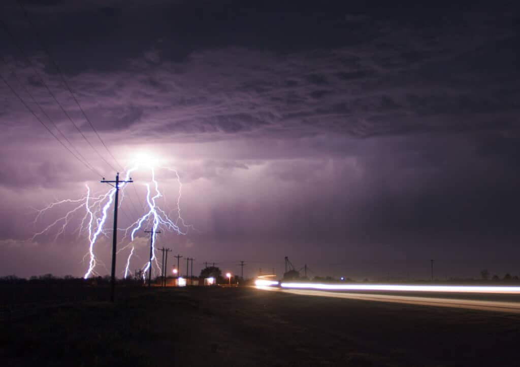 Lightning next to the highway in Oklahoma