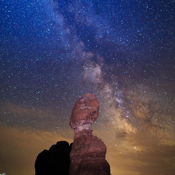 Milky Way over the Balanced Rock in Arches National Park, Moab Utah