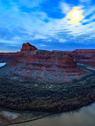 Moon over the Colorado River in Moab Utah