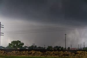 Moore Tornado at Broadway and 4th Looking west at the train tracks towards the Moore, OK EF-5 Tornado