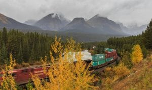 Canadian Pacific Train passes Morant's Curve