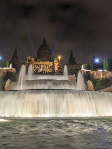 Waterfalls and fountains in front of Museu Nacional Art de Catalunya