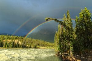 Rainbow over the Athabasca River