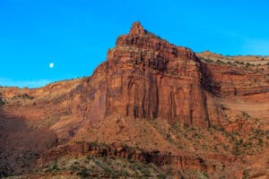 Moon over Shafer Canyon