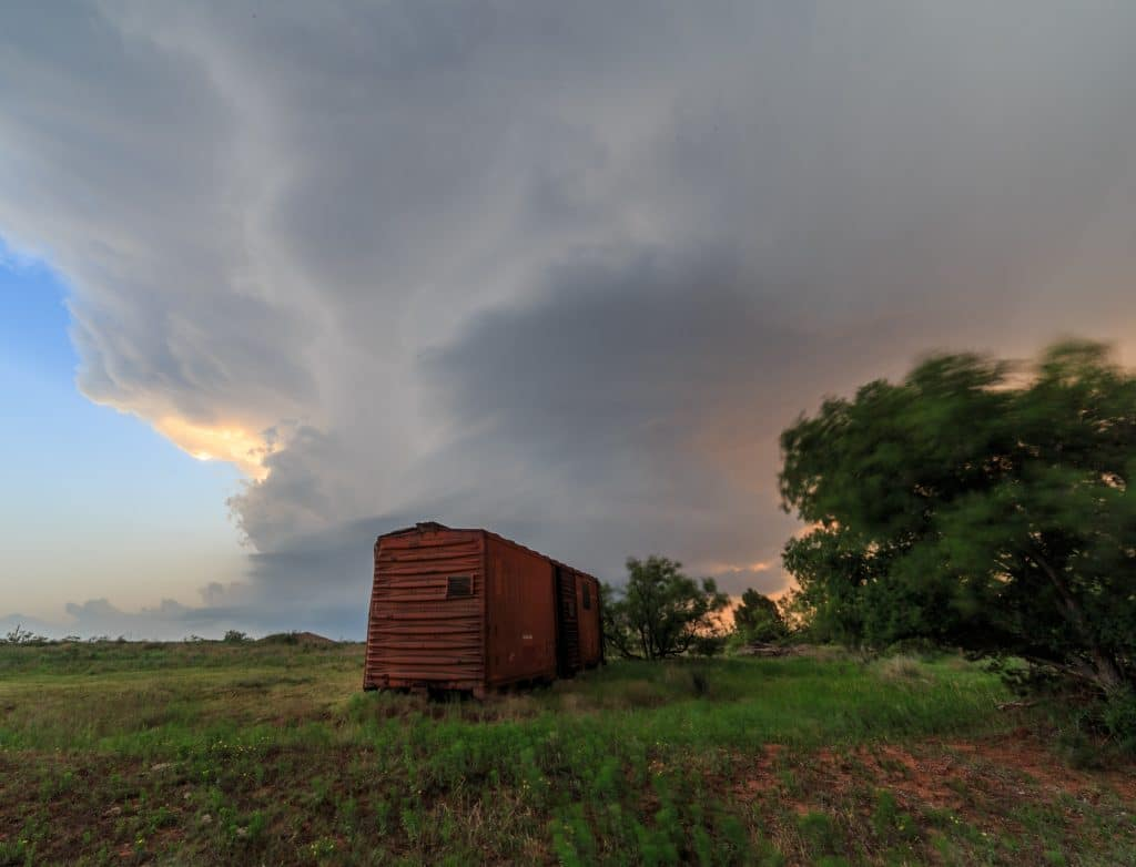 Boxcar in front of a supercell