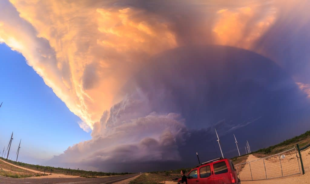9 image pano of the Garden City, TX storm