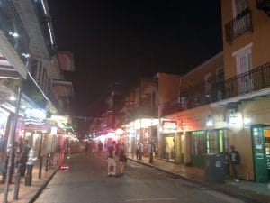 Walking down Bourbon Street