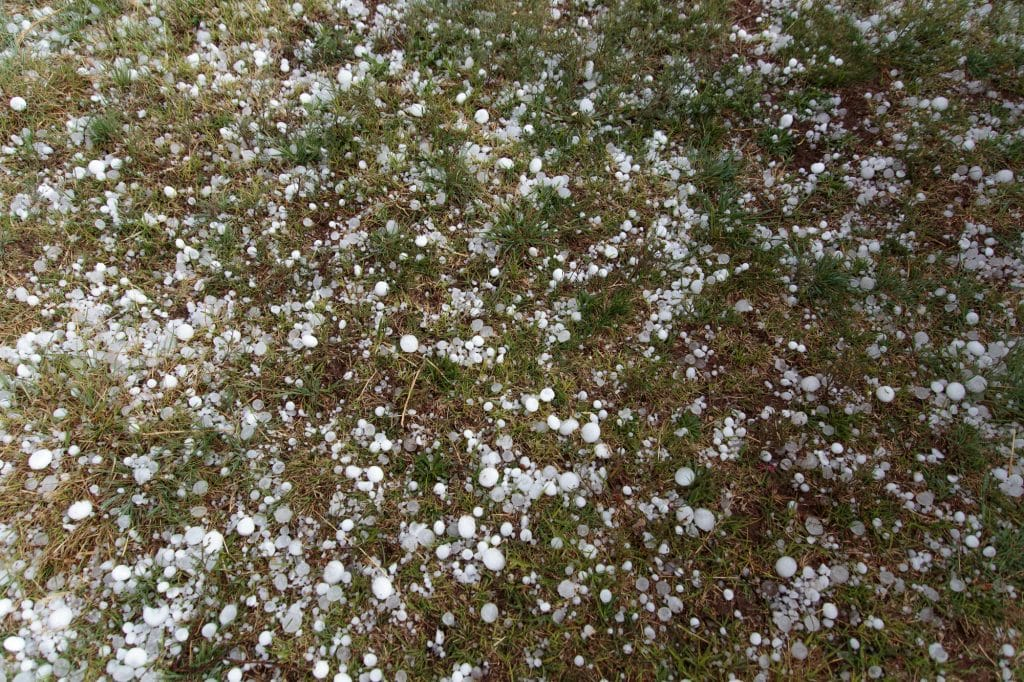 Ground covered in small hail