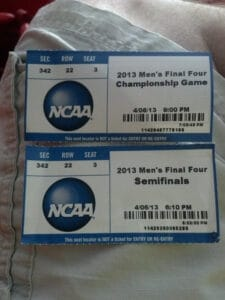 Tickets to the 2013 NCAA Mens Final Four Semi Finals and NCAA 2013 Men's Final Four Championship Game