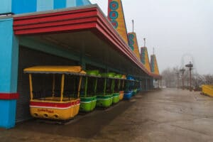 Giant Wheel Cabins stored under the game awnings for the winter