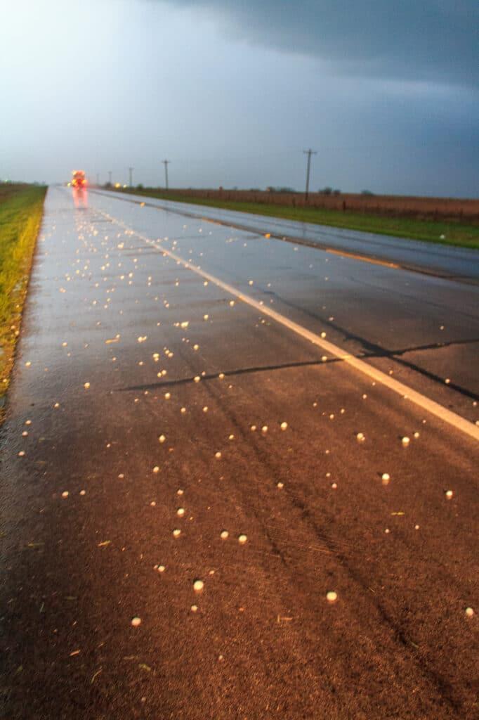 Hail on roadway