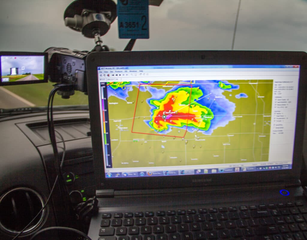 Approaching a tornado warned storm in Northern Oklahoma