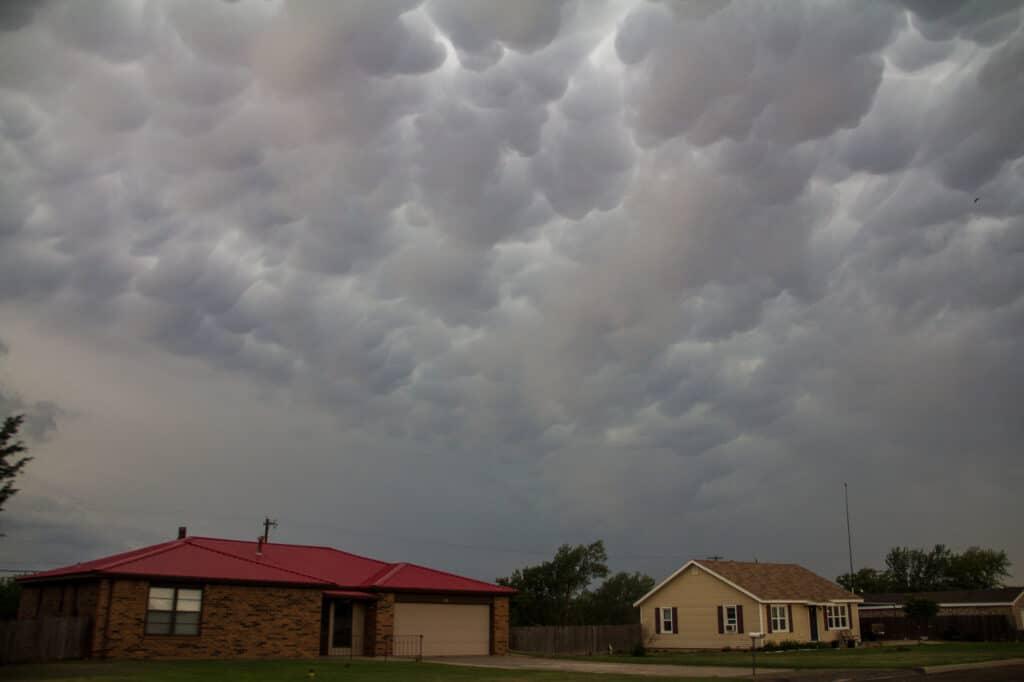 Mammatus over houses in Texas