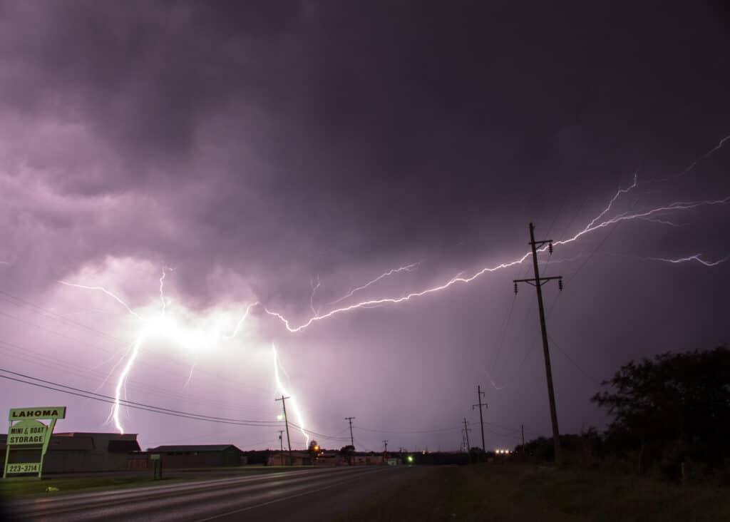 Lightning near Ardmore
