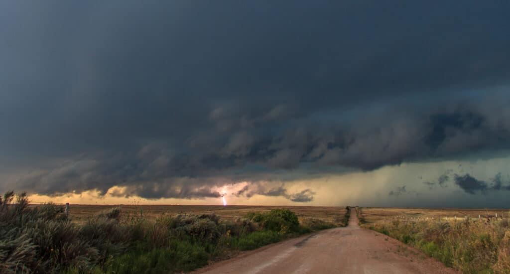 Lightning on a back road in Texas