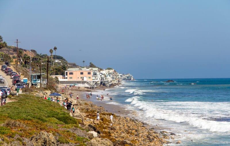 The pacific ocean meets the beach in Malibu California August 2014