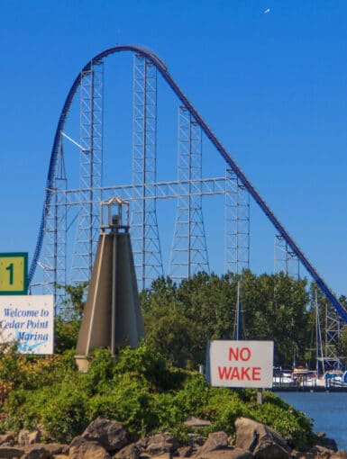 Millennium Force from outside the marina