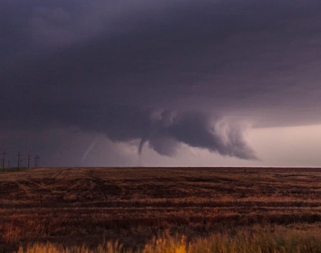 Two Tornadoes near LaCrosse Kansas