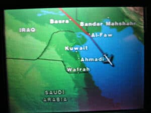 Flying over the Persian Gulf