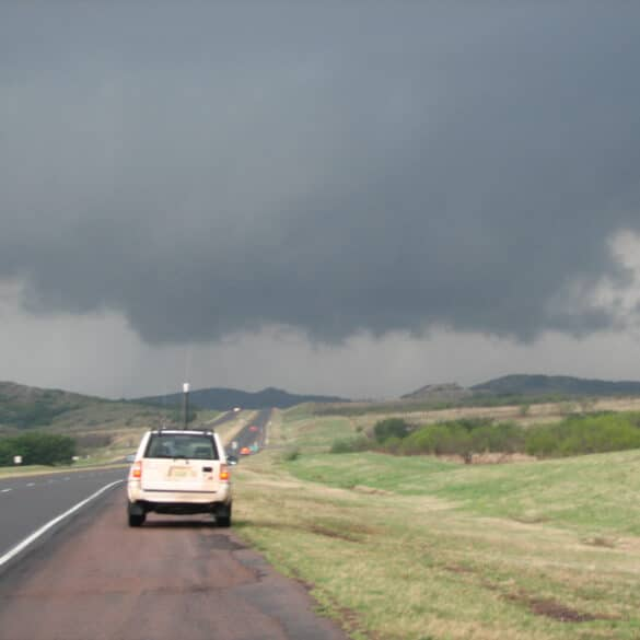 Oklahoma Wallcloud near Snyder with JR in the foreground